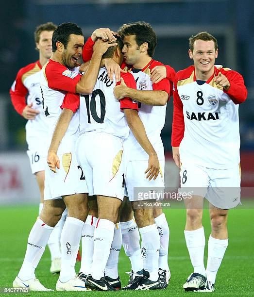 Cristiano of Adelaide United celebrates with his teammates after scoring during the FIFA Club World Cup fifth place match between Adelaide United and...