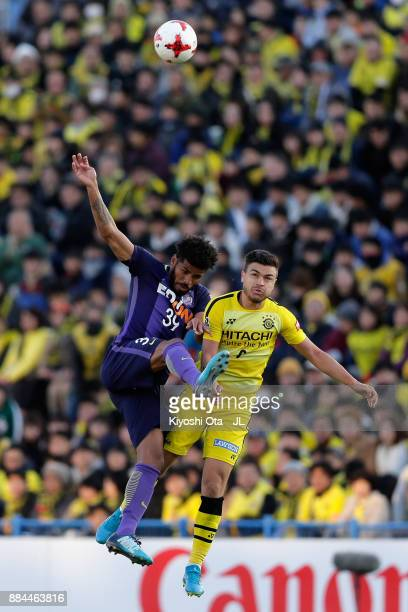 Cristiano of Kashiwa Reysol and Patric of Sanfrecce Hiroshima compete for the ball during the JLeague J1 match between Kashiwa Reysol and Sanfrecce...