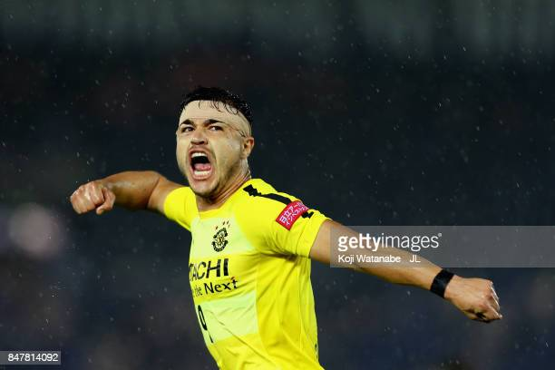 Cristiano of Kashiwa Reysol celeberates scoring his side's first goal during the JLeague J1 match between Yokohama FMarinos and Kashiwa Reysol at...