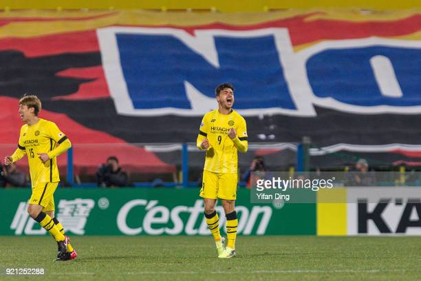Cristiano of Kashiwa Reysol celebrates after scoring a goal during the AFC Champions League match between Kasshiwa Reysol and Tianjin Quanjian at...