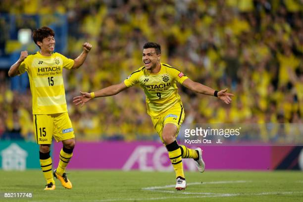 Cristiano of Kashiwa Reysol celebrates scoring his side's fourth goal during the JLeague J1 match between Kashiwa Reysol and FC Tokyo at Hitachi...