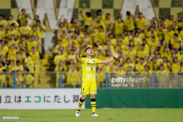 Cristiano of Kashiwa Reysol celebrates scoring his side's second goal during the JLeague J1 match between Kashiwa Reysol and Vissel Kobe at Hitachi...