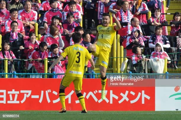 Cristiano of Kashiwa Reysol celebrates scoring his team's first goal during the JLeague J1 match between Kashiwa Reysol and Cerezo Osaka at Sankyo...