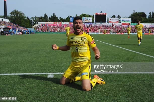 Cristiano of Kashiwa Reysol celebrates scoring the opening goal during the J.League J1 match between Kashiwa Reysol and Cerezo Osaka at Hitachi...