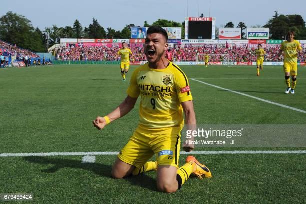 Cristiano of Kashiwa Reysol celebrates scoring the opening goal during the JLeague J1 match between Kashiwa Reysol and Cerezo Osaka at Hitachi...