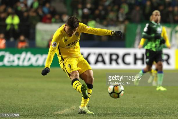 Cristiano of Kashiwa Reysol in action during the AFC Champions League Group E match between Jeonbuk Hyundai Motors and Kashiwa Reysol at the Jeonju...