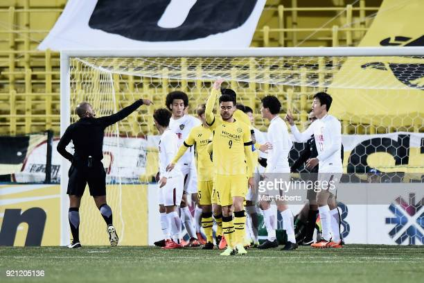 Cristiano of Kashiwa Reysol reacts after his penalty kick was saved by Zhang Lu of Tianjin Quanjian during the AFC Champions League match between...
