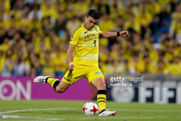 Cristiano of Kashiwa Reysol scores his side's fourth goal from a free kick during the JLeague J1 match between Kashiwa Reysol and FC Tokyo at Hitachi...