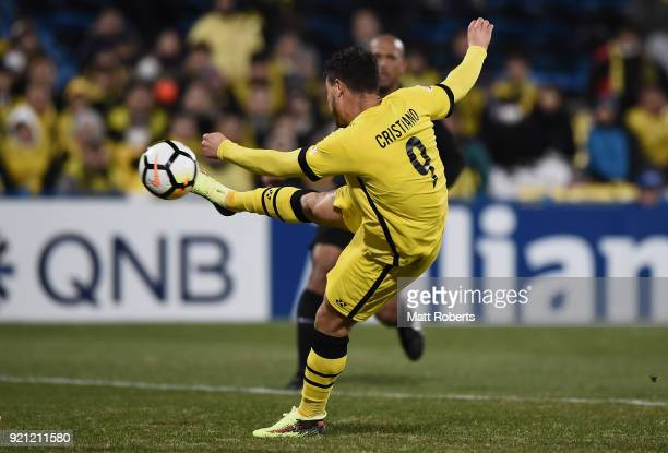 Cristiano of Kashiwa Reysol scores the opening goal during the AFC Champions League match between Kashiwa Reysol and Tianjin Quanjian at Sankyo...
