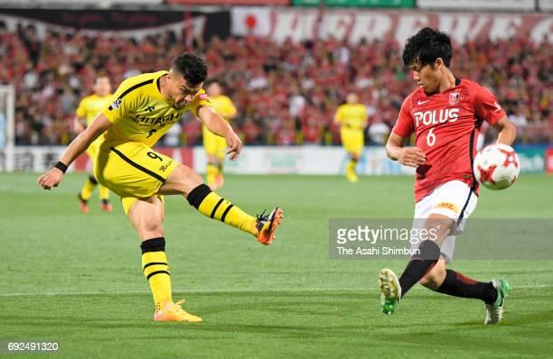 Cristiano of Kashiwa Reysol shoots at goal during the JLeague J1 match between Kashiwa Reysol and Urawa Red Diamonds at Hitachi Kashiwa Soccer...