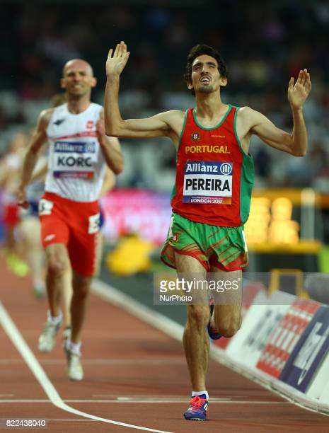 Cristiano Pereira of Portugalcompete Men's 1500m T20 Final during World Para Athletics Championships Day Three at London Stadium in London on July 17...
