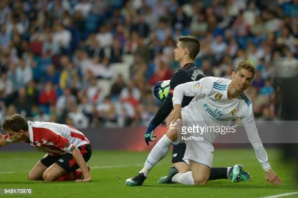 Cristiano Rolnaldo of Real Madrid and Kepa Arrizabalaga of Athletic Bilbao during a match between Real Madrid vs Athletic Bilbao for La Liga Española...