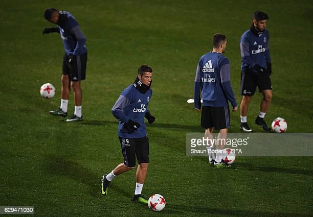 Cristiano Ronald of Real Madrid during a training session at Mitsuzawa Football Stadium on December 13, 2016 in Yokohama, Japan.