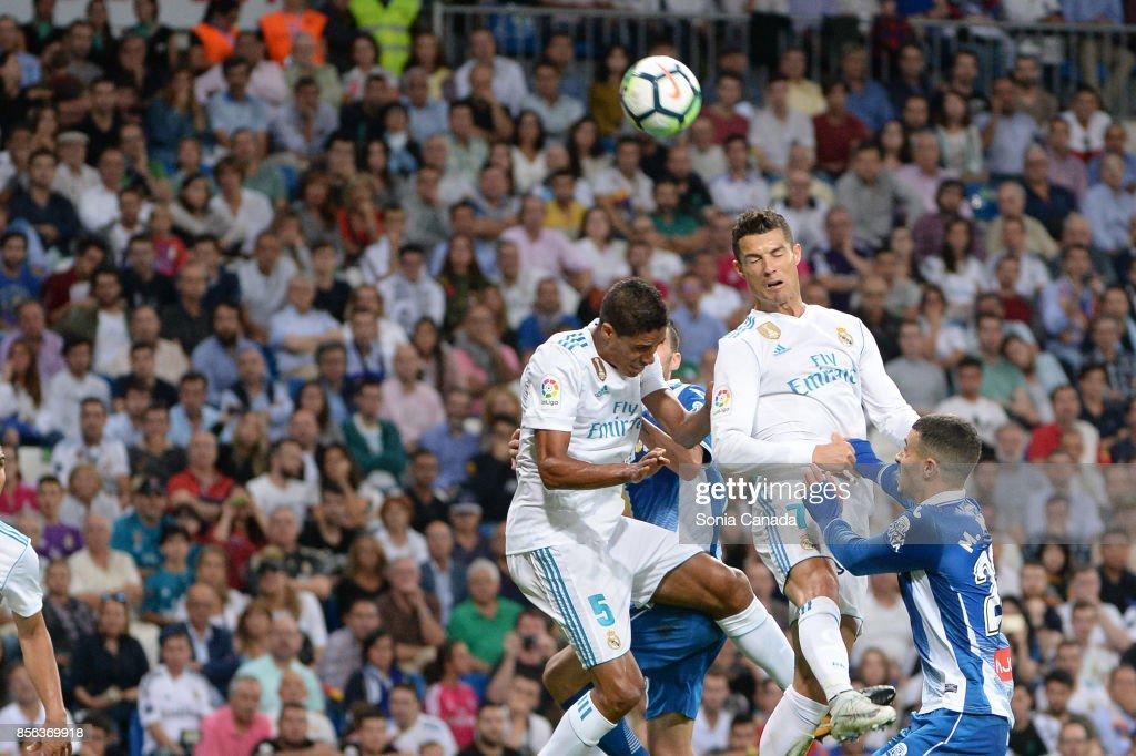 Cristiano Ronaldo, #7 of Real Madrid during the La Liga match between Real Madrid v Espanyol at Santiago Bernabeu on October 1, 2017 in Madrid, Spain.