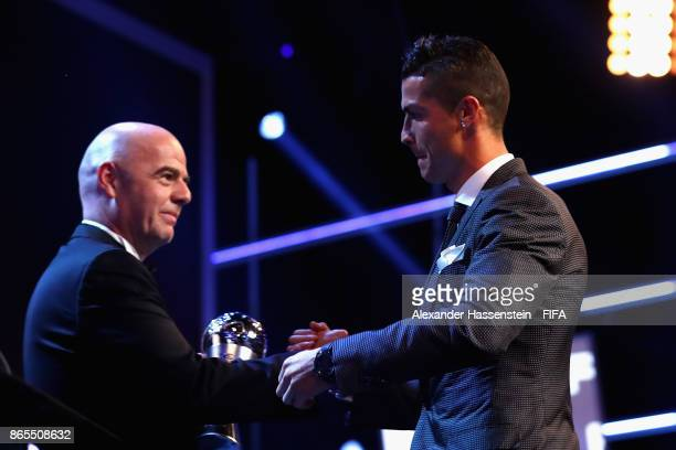 Cristiano Ronaldo accepts The Best FIFA Men's Player award during The Best FIFA Football Awards at The London Palladium on October 23 2017 in London...