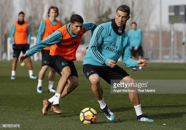 Cristiano Ronaldo and Achraf Hakimi of Real Madrid in action during a training session at Valdebebas training ground on January 20 2018 in Madrid...