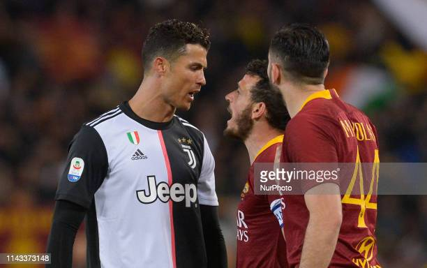 Cristiano Ronaldo and Alessandro Florenzi argue during the Italian Serie A football match between AS Roma and Juventus at the Olympic Stadium in Rome...