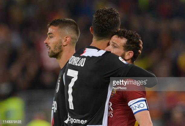 Cristiano Ronaldo and Alessandro Florenzi during the Italian Serie A football match between AS Roma and Juventus at the Olympic Stadium in Rome on...