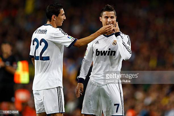 Cristiano Ronaldo and Angel Di Maria celebrates after scoring a goal during the la Liga match between FC Barcelona and Real Madrid at the Camp Nou...