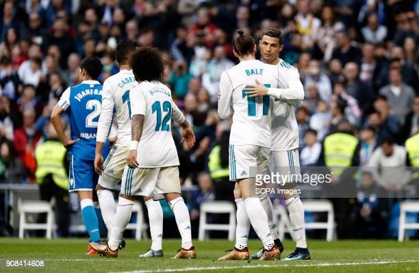 Cristiano Ronaldo and Bale celebrate after scored a goal. Real Madrid faced Deportivo de la Coruña at the Santiago Bernabeu stadium during the...