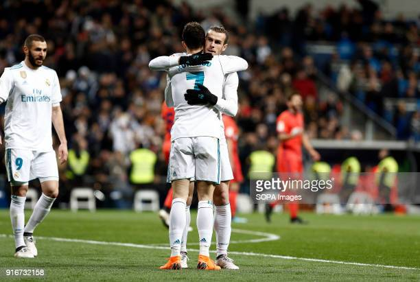 Cristiano Ronaldo and Bale celebrates after scoring a goal during the Spanish league football match, Feb 2018 Madrid Spain Real Madrid and Real...