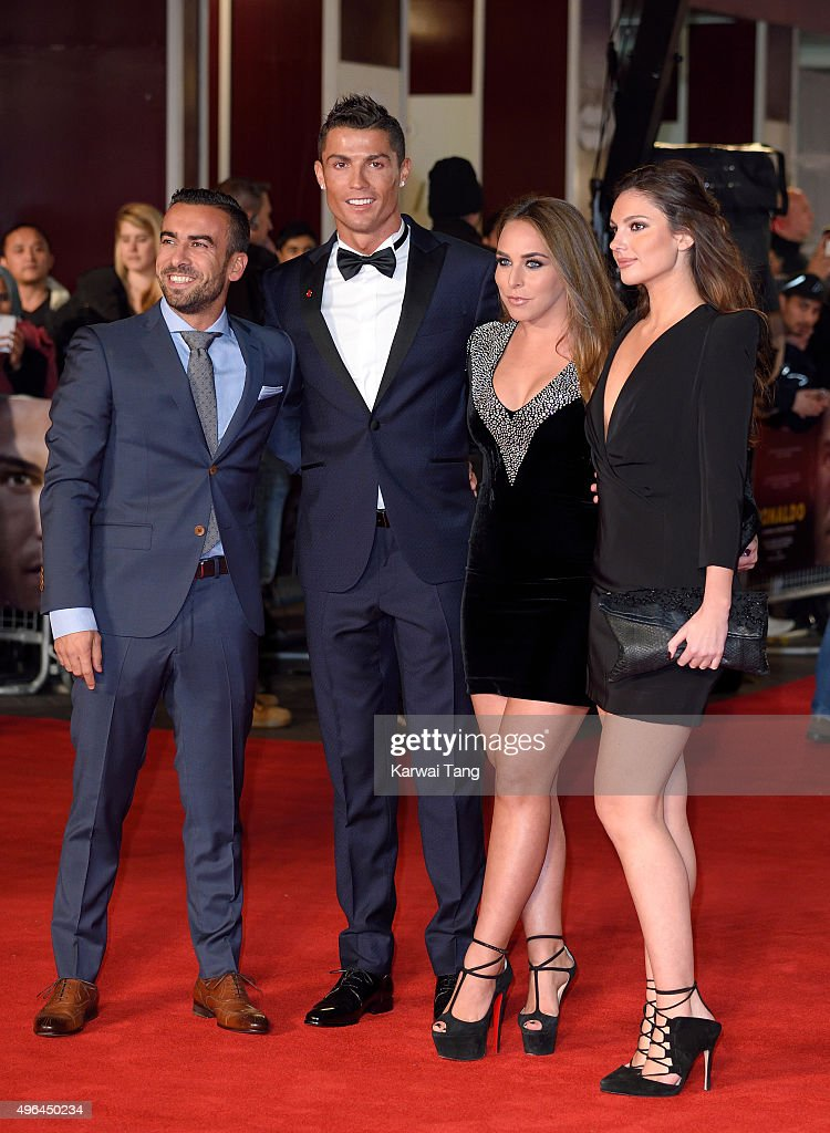 Cristiano Ronaldo (2nd left) and Chloe Green (2nd right) attend the World Premiere of 'Ronaldo' at Vue West End on November 9, 2015 in London, England.