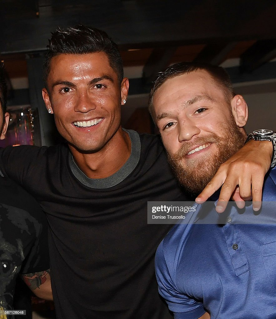 Cristiano Ronaldo and Connor McGregor attend Jennifer Lopez's birthday at Nobu Villa Atop Nobu Hotel at Caesars Palace on July 24, 2016 in Las Vegas, Nevada.