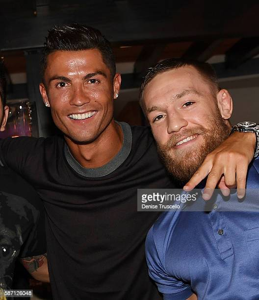 Cristiano Ronaldo and Connor McGregor attend Jennifer Lopez's birthday at Nobu Villa Atop Nobu Hotel at Caesars Palace on July 24 2016 in Las Vegas...
