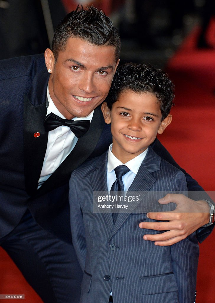 Cristiano Ronaldo and Cristiano Ronaldo Jr attend the World Premiere of 'Ronaldo' at Vue West End on November 9, 2015 in London, England.