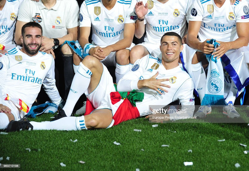 Cristiano Ronaldo (R) and Dani Carvajal (L) during the Real Madrid team celebration after winning their 13th European Cup on May 27, 2018 in Madrid, Spain.