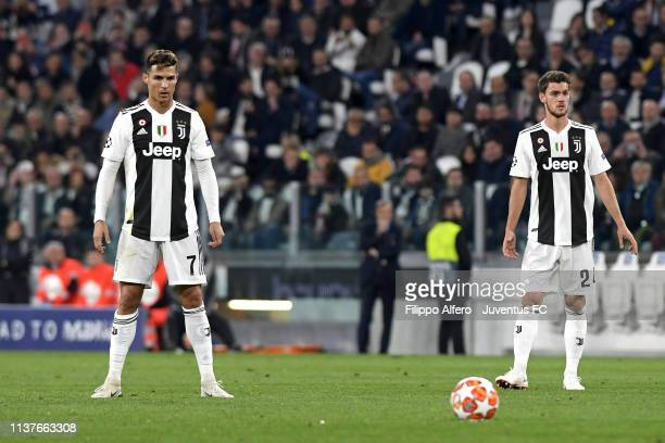 Cristiano Ronaldo and Daniele Rugani of Juventus in action during the UEFA Champions League Quarter Final second leg match between Juventus and Ajax...