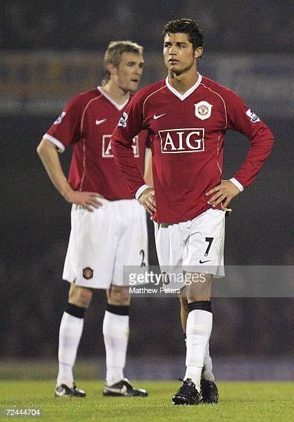 Cristiano Ronaldo and Darren Fletcher of Manchester United show their disappointment at the end of the Carling Cup match between Southend United and...