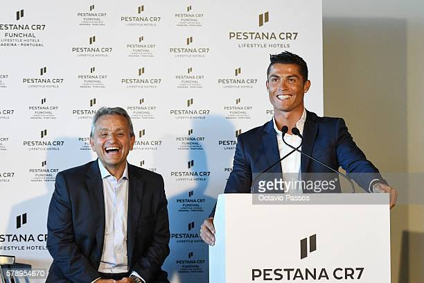 Cristiano Ronaldo and Dionisio Pestana during the opening of the new 'Pestana CR7 Funchal' Hotel owned by Cristiano Ronaldo on July 22 2016 in...