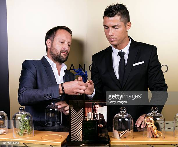 Cristiano Ronaldo and Eden Parfum perfumer discuss the fragance as he unveils his debut fragrence 'Cristiano Ronaldo Legacy' at a launch party on...