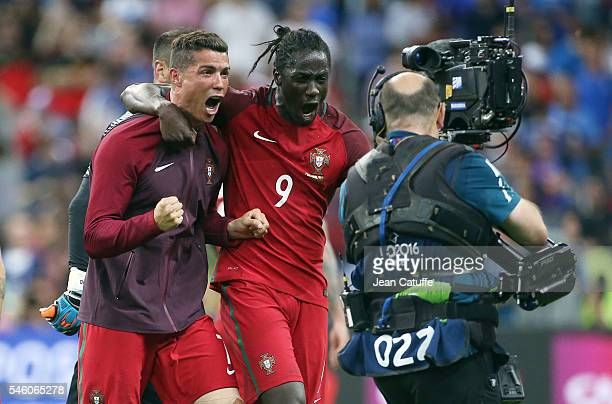 Cristiano Ronaldo and Eder aka Ederzito Antonio Macedo Lopes of Portugal celebrate the victory following the UEFA Euro 2016 final match between...