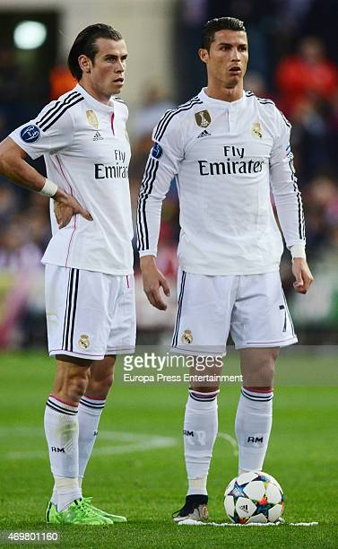 Cristiano Ronaldo and Gareth Bale during the UEFA Champions League Quarter Final First Leg match between Club Atletico de Madrid and Real Madrid CF...