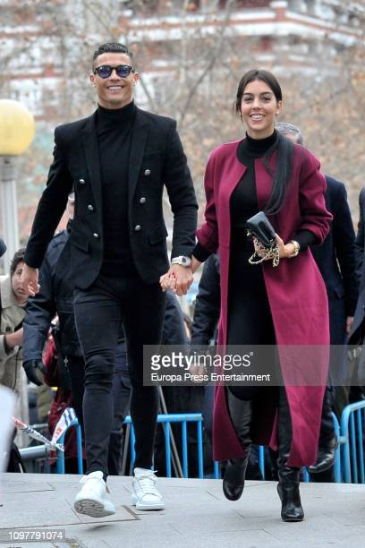 Cristiano Ronaldo and Georgina Rodriguez arrive at the Audiencia Provincial on January 22 2019 in Madrid Spain Cristiano has been called to declare...