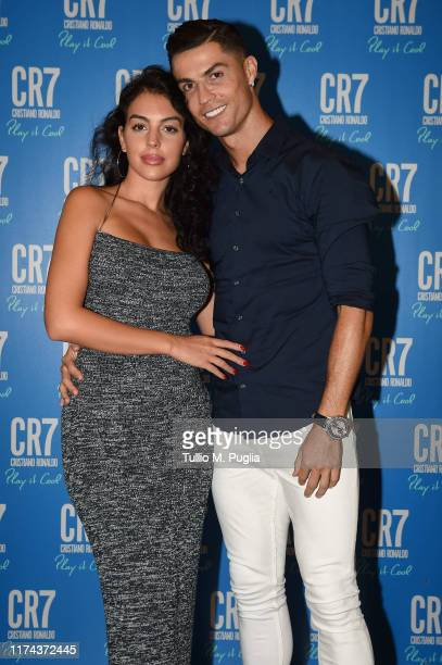 Cristiano Ronaldo and Georgina Rodriguez celebrate the launch of new CR7 Play It Cool with friends and family on September 12, 2019 in Turin, Italy.
