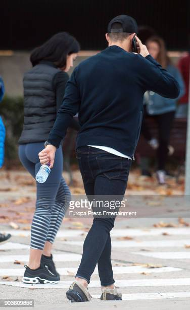 Cristiano Ronaldo and Georgina Rodriguez go to school to pick up Cristiano Ronaldo jr on November 29 2017 in Madrid Spain