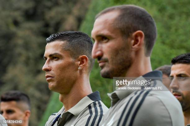 Cristiano Ronaldo and Giorgio Chiellini during the PreSeason Friendly match between Juventus and Juventus U19 on August 12 2018 in Villar Perosa Italy