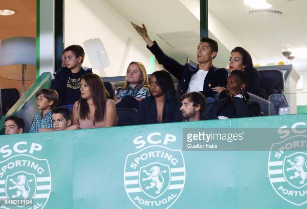 Cristiano Ronaldo and girlfriend Georgina Rodriguez during the Primeira Liga match between Sporting CP and CD Tondela at Estadio Jose Alvalade on...