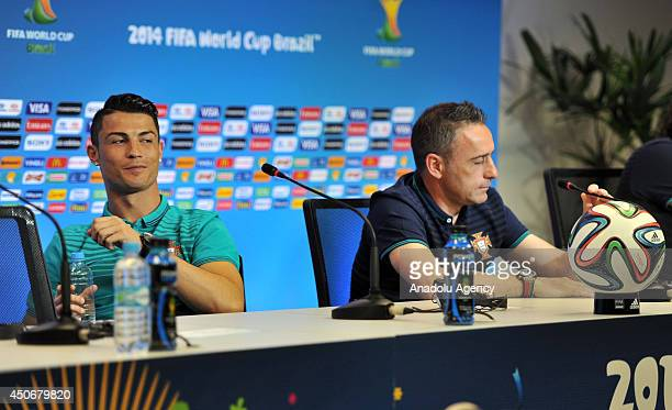 Cristiano Ronaldo and head coach Paulo Bento hold a press conference prior to the match against Germany to be played on 16 June within the 2014 FIFA...