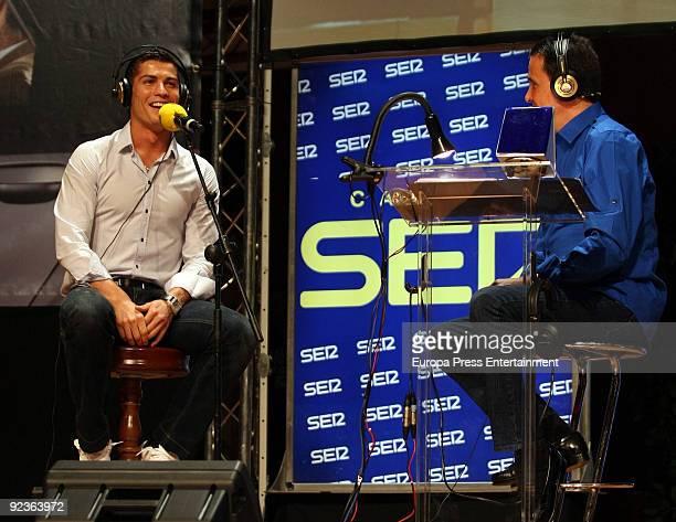 Cristiano Ronaldo and Jose Ramon de la Morena attend 'El Larguero' radio broadcast on October 26 2009 in Madrid Spain
