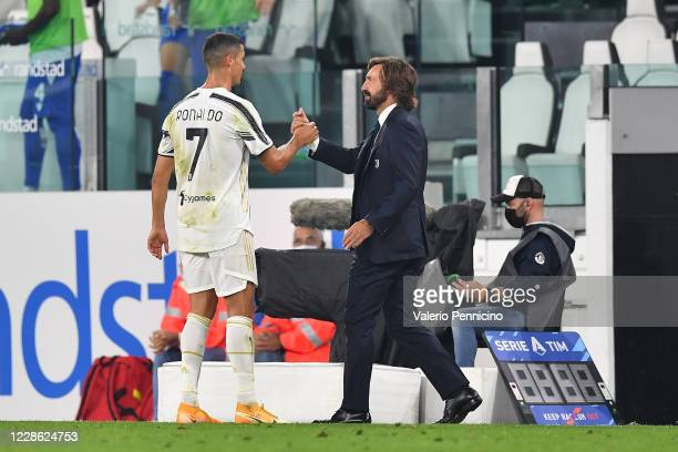 Cristiano Ronaldo and Juventus head coach Andrea Pirlo celebrate victory at the end of the Serie A match between Juventus and UC Sampdoria at Allianz...