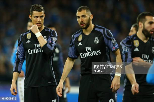 Cristiano Ronaldo and Karim Benzema of Real Madrid at San Paolo Stadium in Naples Italy on March 7 2017