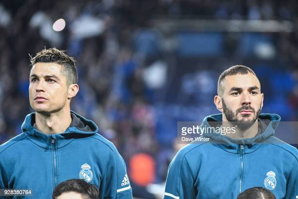 Cristiano Ronaldo and Karim Benzema of Real Madrid during the UEFA Champions League Round of 16 Second Leg match between Paris Saint Germain and Real...