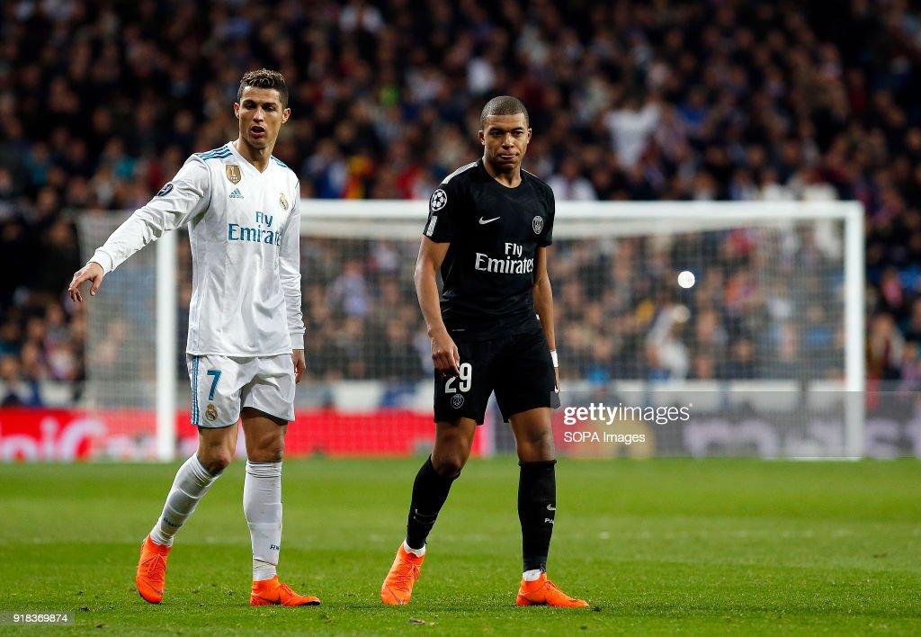 Cristiano Ronaldo And Kylian Mbappe During The Uefa