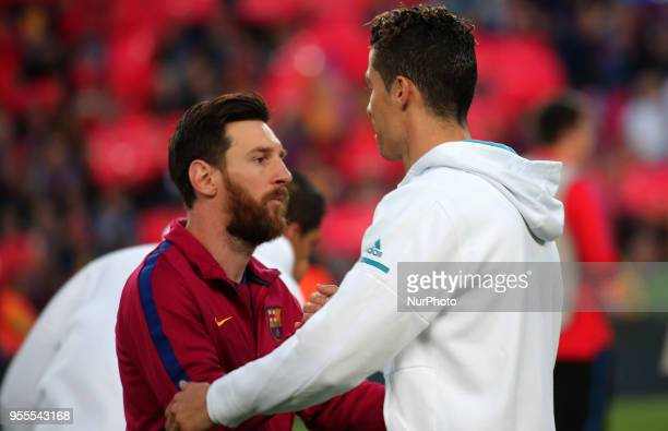 Cristiano Ronaldo and Leo Messi during the match between FC Barcelona and Real Madrid CF played at the Camp Nou Stadium on 06th May 2018 in Barcelona...