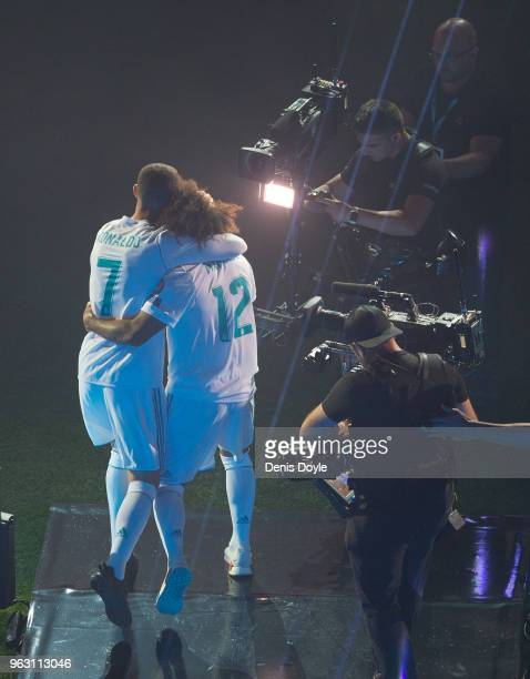 Cristiano Ronaldo and Marcelo of Real Madrid celebrate at the Santiago Bernabeu stadium following their victory last night in Kiev in the UEFA...