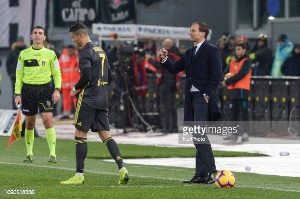 Cristiano Ronaldo and Massimiliano Allegri during the Italian Serie A football match between SS Lazio and FC Juventus at the Olympic Stadium in Rome...